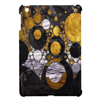 Gold/Black Metal Textured Abstract Cover For The iPad Mini