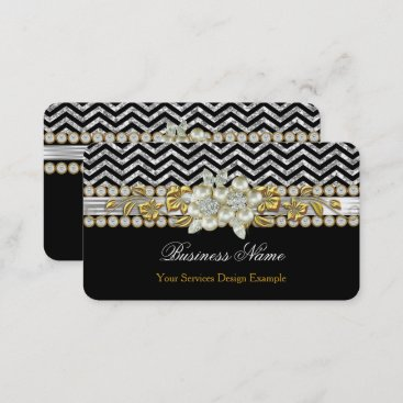 Gold Black Silver Chevron Diamond Pearl Floral Business Card
