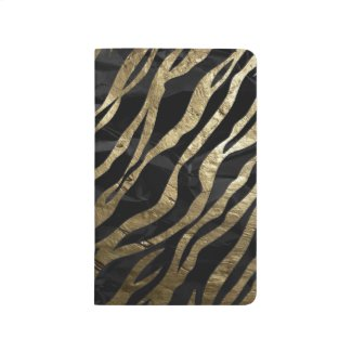 Gold,Black Zebra Metal Texture Pocket Journals