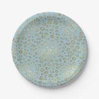 Gold Blue Ombre Leopard Print Paper Plate | Zazzle
