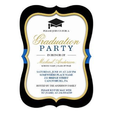 Gold Bracket Frame Modern 2018 Graduation Party Invitation