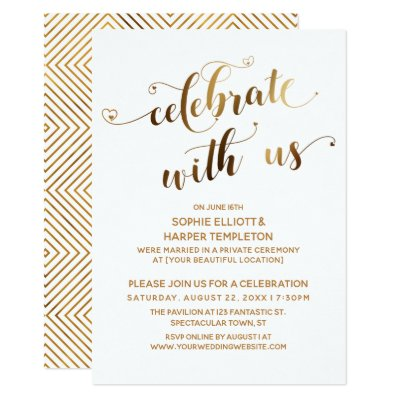 Celebrate With Us Casual Modern Wedding Party Invitation Zazzle Com