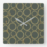 Gold Circles & Rustic Olive Green Modern Chic Square Wall Clock
