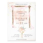 Gold Confetti Arch Peach Floral Boho Wedding Invitation