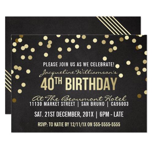 Gold Confetti Chalkboard Woman's 40th Birthday Card