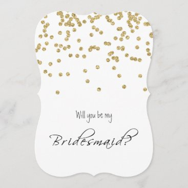 Gold Confetti - Will you be my bridesmaid? Invitation