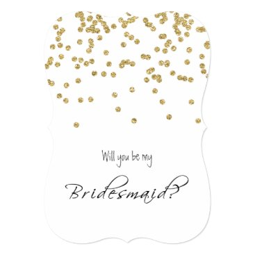 Gold Confetti - Will you be my bridesmaid? Invitation