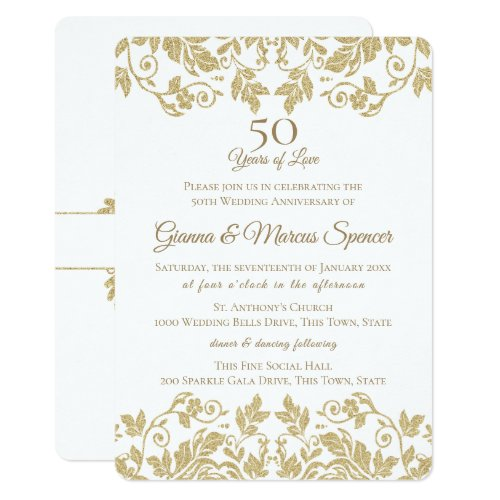 Gold Damask 50th Anniversary Invitation