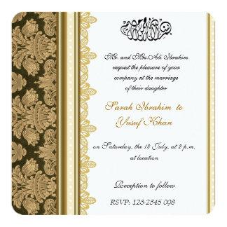 Gold Damask Brocade Muslim Wedding Card