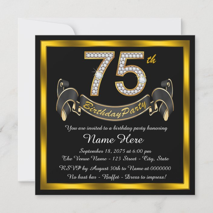 gold diamond 75th birthday party invitation zazzle com