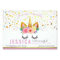 Gold Floral Unicorn Party Card