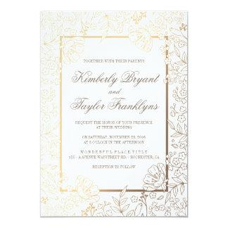 Gold Fl White Vine Wedding Invitation