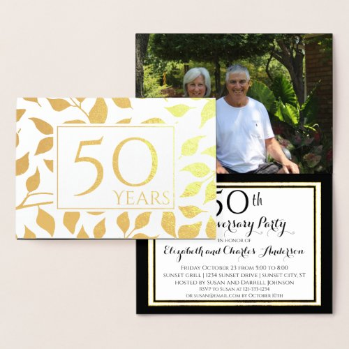 Gold Foil 50th Wedding Anniversary Invitations