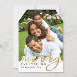 Gold Foil Effect Merry Hand Script Holiday Photo