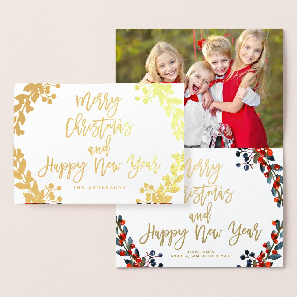 Gold Foil Merry Christmas Script Holiday Photo Foil Card