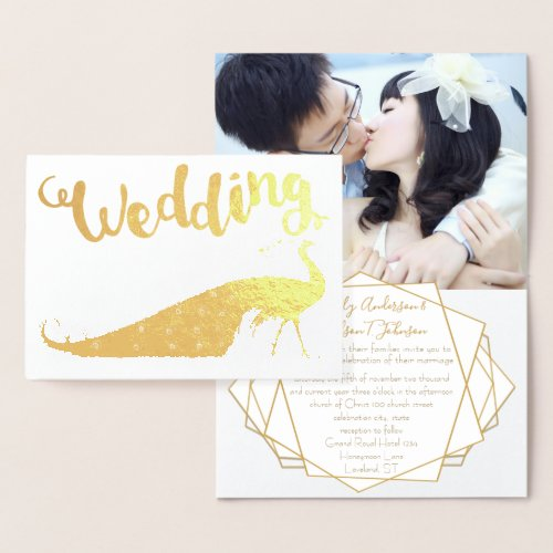 Gold Foil Peacock Your Photo Wedding Invitations