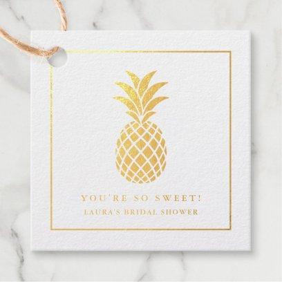 Gold foil pineapple - you're so sweet - tropical foil favor tags