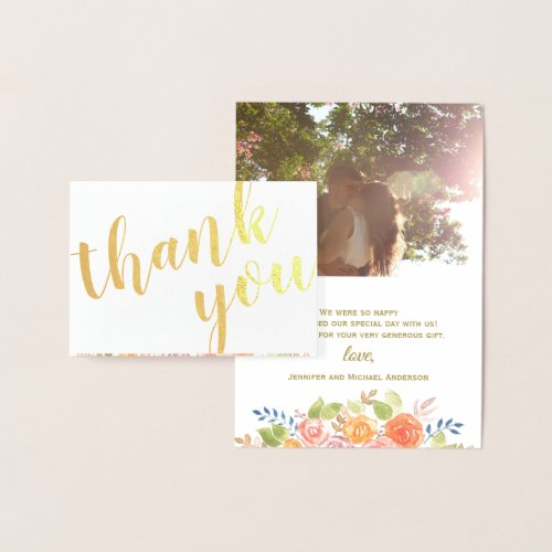 Gold Foil Rose Bouquet Thank You Photo and Name Foil Card