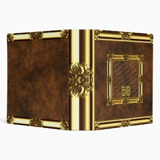 Gold Framed Leather Look Binder