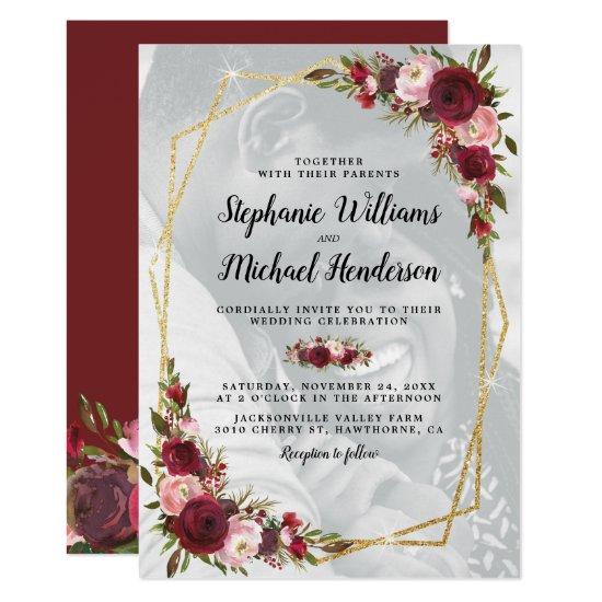 Gold Geometric Burgundy Floral Photo Wedding Invitation