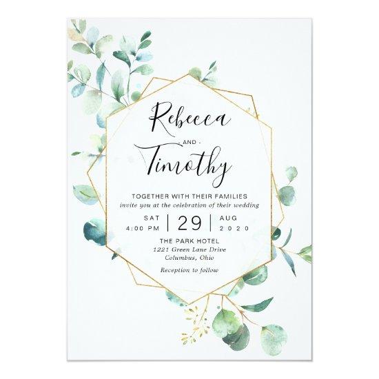Gold Geometric Eucalyptus Greenery Wedding Invitation