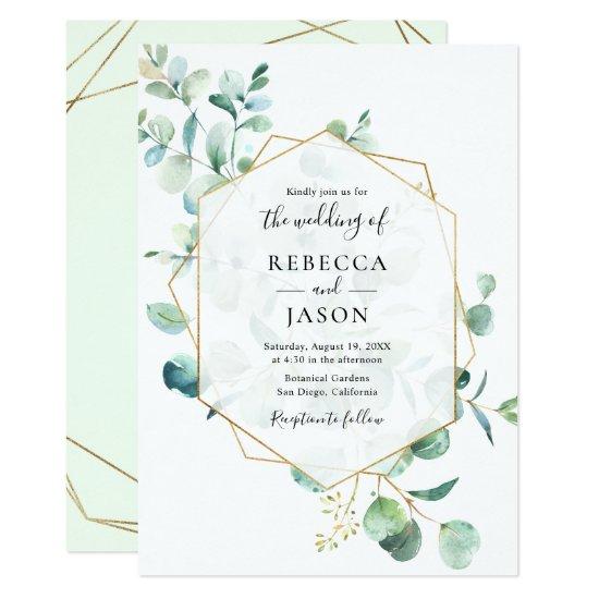 Gold Geometric Greenery Leaves Wedding Invitation