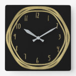 Gold Glam & Black Rings (Any Color) Modern Glam Square Wall Clock