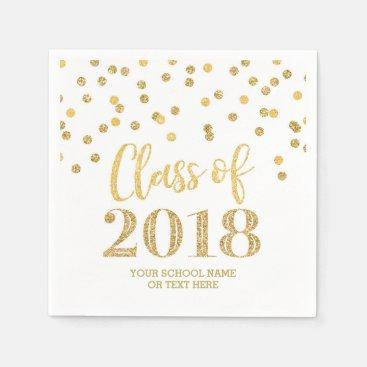 Gold Glitter Confetti Class of 2018 Graduation Paper Napkin