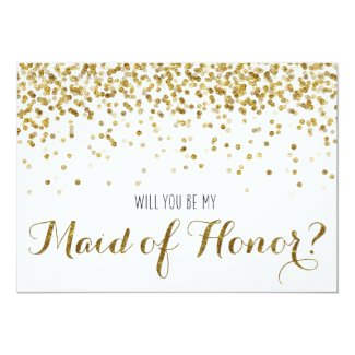 Gold Glitter Confetti Will you be my Maid of Honor