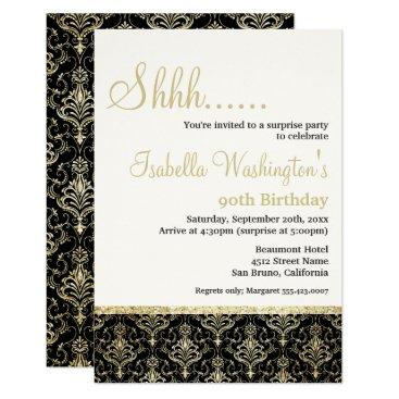 Gold Glitter Damask 90th Surprise Birthday Party Invitation