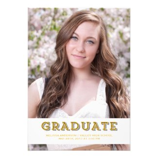 Gold Graduate Senior Portrait Invitations