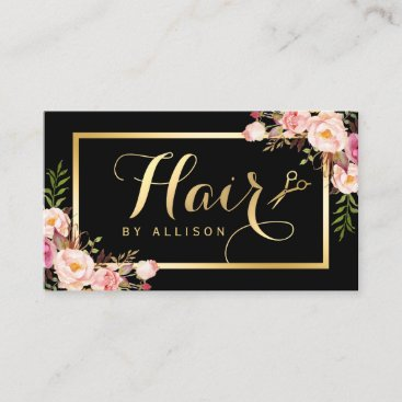 Gold Hair Stylist Scissors Trendy Girly Floral Business Card