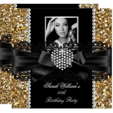 Gold Lace Diamond Heart Photo Birthday Party Invitation