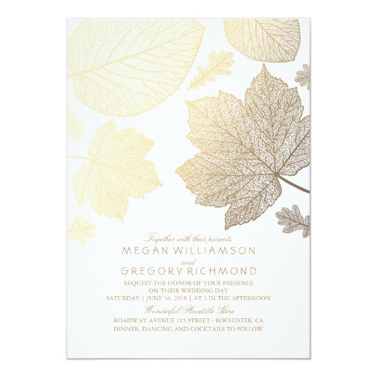 Gold Leaves Vintage Elegant Fall Wedding Invitation