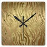 Gold Luxury Luxurious Zebra Jungle Safari Glam Square Wall Clock