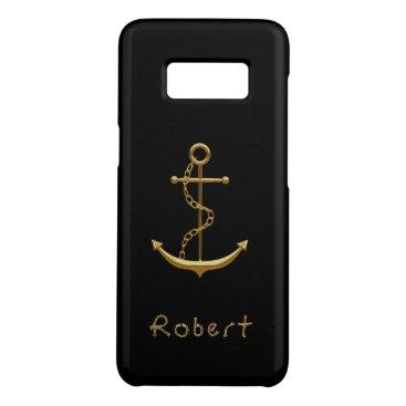 Gold maritime anchor on black nautical name Case-Mate samsung galaxy s8 case