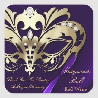 Gold Masquerade Purple Party Sticker