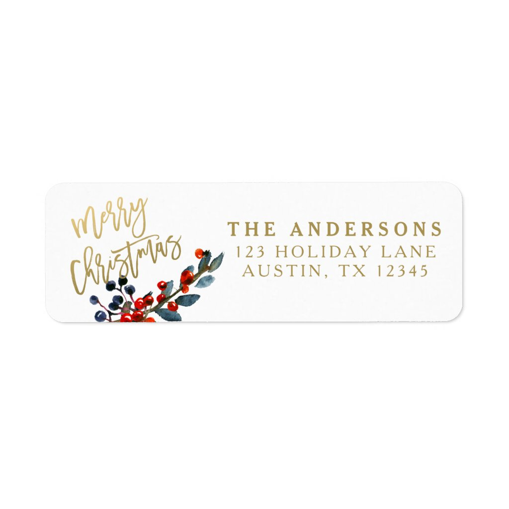 Gold Merry Christmas Script Red Berries Holiday Label