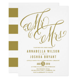 Gold Mr Mrs Elegant Script Wedding Invitation