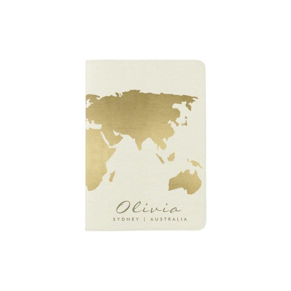 GOLD ON WHITE WORLD MAP MONOGRAM PERSONALIZED PASSPORT HOLDER