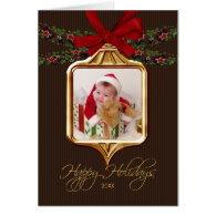 Gold Ornament Frame Photo Christmas Card