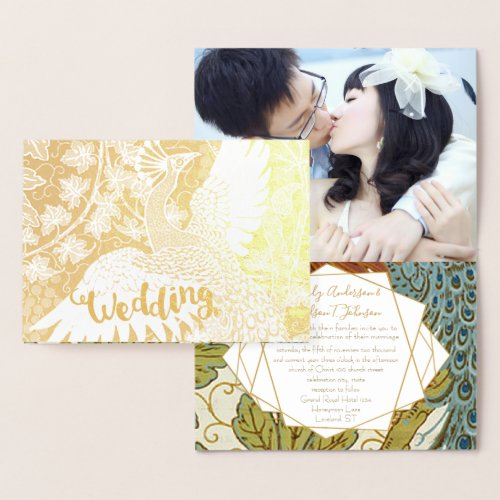 Gold Peacock Geometric Frame Wedding Invitations