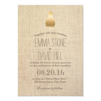 Elegant Gold Pineapple Wedding Guest Details Invitations