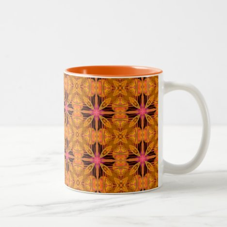 Gold Pink Geometric Abstract Moroccan Snowflake Two-Tone Coffee Mug
