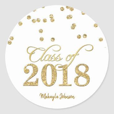 Gold Polka-dots Glitter Class of 2018 Graduation Classic Round Sticker