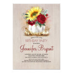 Gold Pumpkin Red Floral Vase Rustic Fall Birthday Invitation
