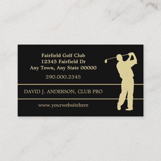 Gold Silhouette Golfer on Black Business Card