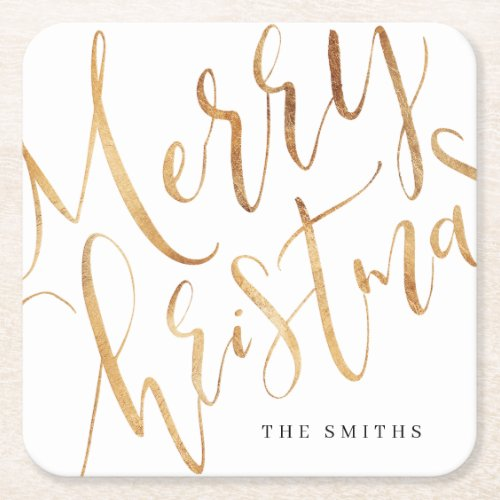 Gold Simple Calligraphy Merry Christmas Square Paper Coaster