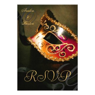 Gold Swirl Masquerade Mask RSVP Invitation