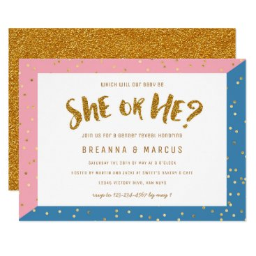 Gold Two Tone Gender Reveal Party Baby Shower Card